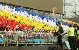 KUALA LUMPUR 22 AUGUST 2017. Sesi raptai persembahan padang dari kontinjen sekolah-sekolah menegah kebangsaan sekitar negeri Selangor dan Wilayah Persekutuan yang mewakili Kementerian Pendidikan Malaysia untuk persembahan sempena sambutan Hari Kemerdekaan ke-60 di Dataran Merdeka. NSTP/ADI SAFRI